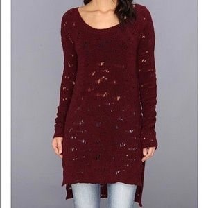 Free People Eye On You Burgundy Tunic Pullover L